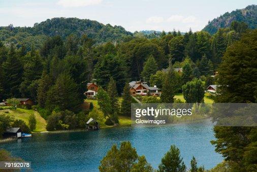 High angle view of a lake, Lake Nahuel Huapi, San Carlos De Bariloche, Argentina : Foto de stock