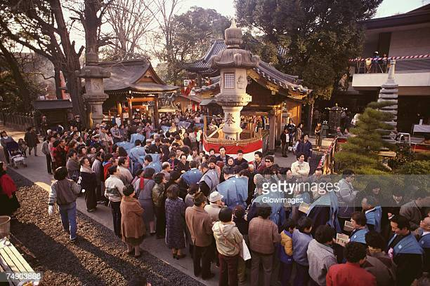 High angle view of a large group of people celebrating Setsubun festival, Tokyo Prefecture, Japan