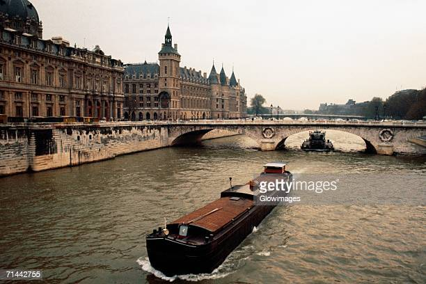 High angle view of a luxury barge, Paris, France