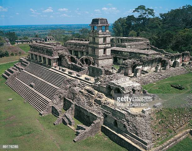 High angle view of a palace Palenque Chiapas Mexico
