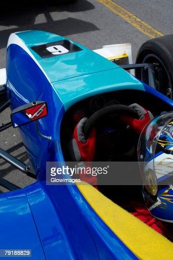 High angle view of a racecar driver in a racecar : Foto de stock