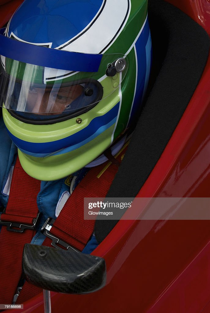 High angle view of a racecar driver in a racecar : Foto de stock
