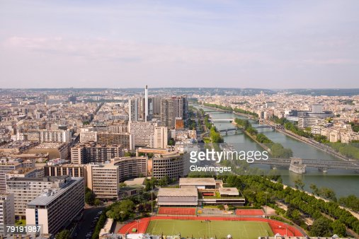 High angle view of a river passing through a city, Seine River, Paris, France : Stock Photo
