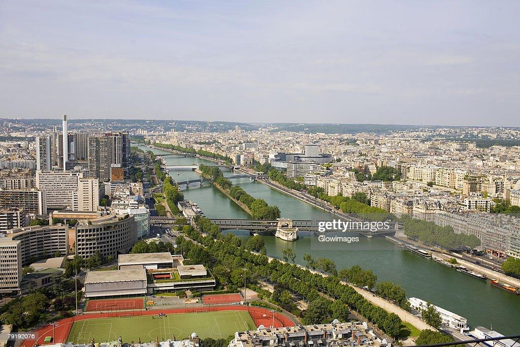 High angle view of a river passing through a city, Seine River, Paris, France : Stock Photo