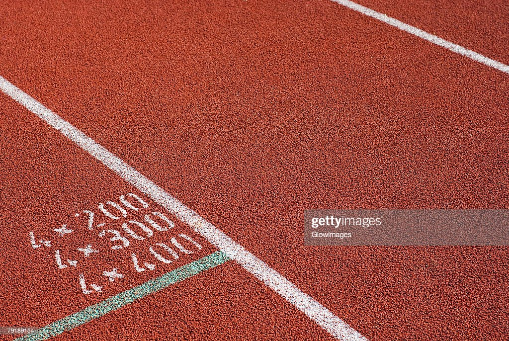 High angle view of a running track : Foto de stock