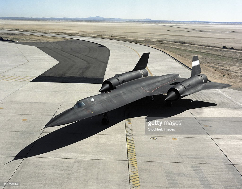 High angle view of a SR-71A Blackbird.