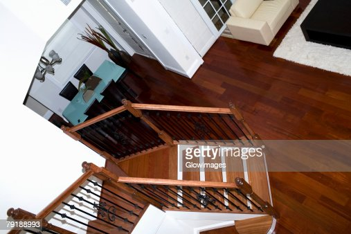 High angle view of a staircase in a house : Foto de stock