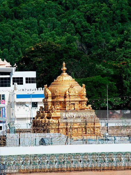 High angle view of a temple, Tirumala Venkateswara Temple, Tirumala, Tirupati, Chittoor District, Andhra Pradesh, India