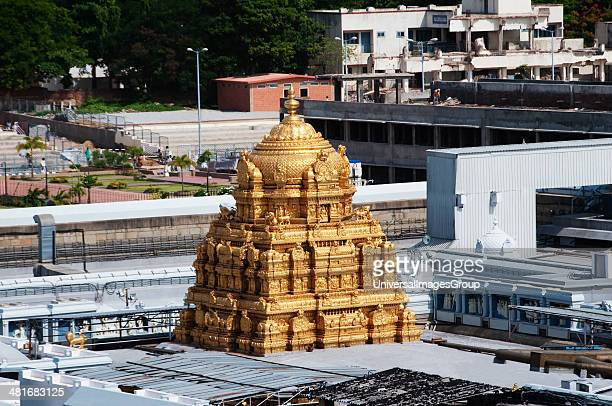High angle view of a temple Tirumala Venkateswara Temple Tirumala Tirupati Chittoor District Andhra Pradesh India