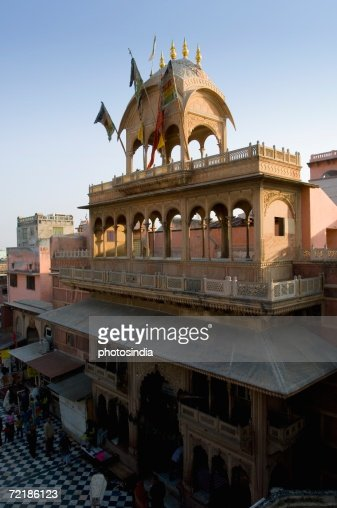 High angle view of a temple, Vrindavan, Mathura, Uttar Pradesh, India