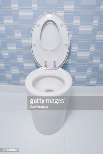 High angle view of a toilet bowl in a bathroom : Foto de stock