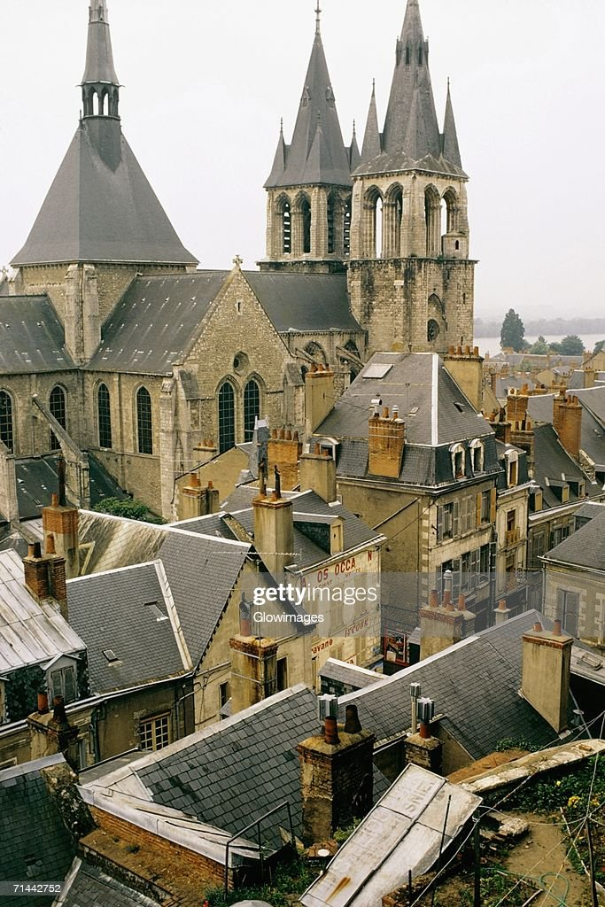 High angle view of a township, Blois, France