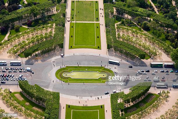 High angle view of a traffic circle, Champ De Mars, Paris, France