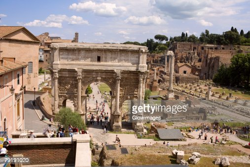 High angle view of a triumphal arch, Arch Of Constantine, Rome, Italy : Stock Photo
