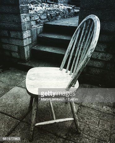 High Angle View Abandoned Wooden Chair Floor Stock