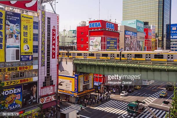 High angle view of Akihabara, Tokyo, Japan