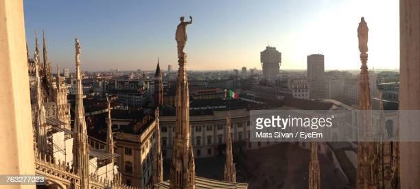 High Angle View Of Altare Della Patria Against Clear Sky During Sunset