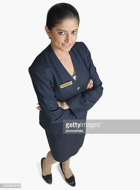 High angle view of an air hostess smiling
