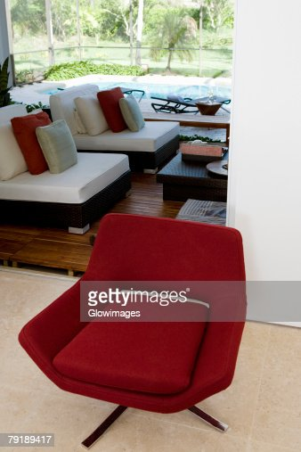 High angle view of an armchair in a living room : Foto de stock