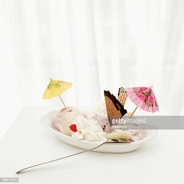 high angle view of an ice cream sundae
