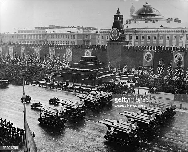 High angle view of antiaircraft missiles on parade as they are led past Lenin's Tomb en route to the saluting base in Red Square to celebrate the...