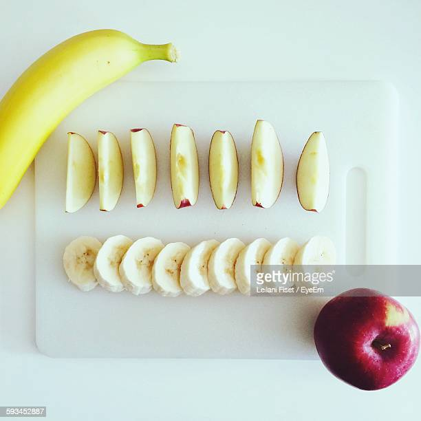 High Angle View Of Apples And Bananas Arranged