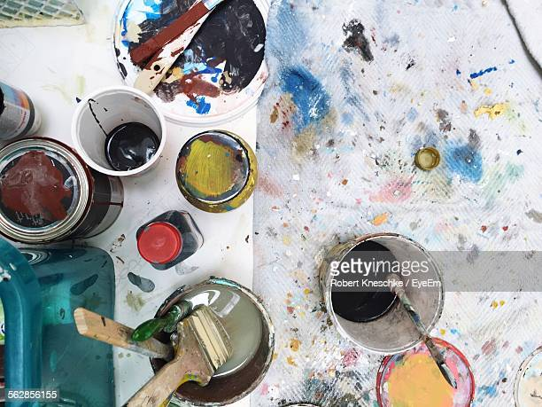 High Angle View Of Art And Craft Equipment On Table