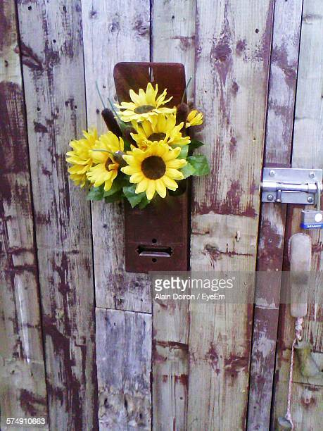 High Angle View Of Artificial Flowers In Metal Box On Wooden Door