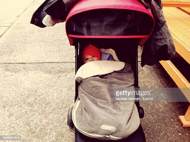 High Angle View Of Baby In Stroller