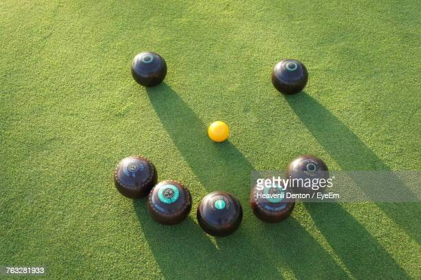 High Angle View Of Balls On Table