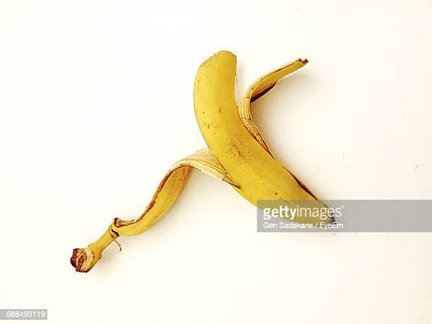 High Angle View Of Banana Peel On White Background