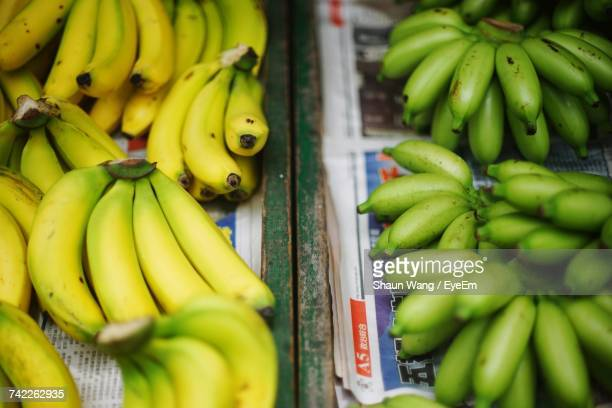 High Angle View Of Bananas For Sale At Market