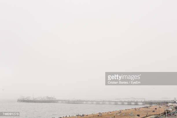 High Angle View Of Beach During Foggy Weather