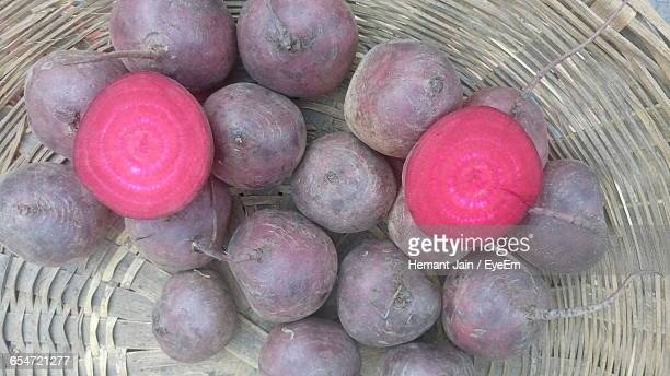 High Angle View Of Beetroot In Basket
