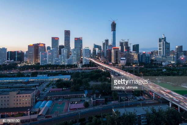 High angle view of Beijing CBD Skyline at Dusk