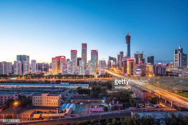 High angle view of Beijing CBD Skyline at Dusk