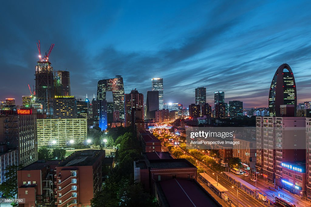 High angle view of Beijing Skyline at Dusk