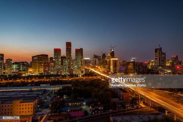 High angle view of Beijing Skyline, Night