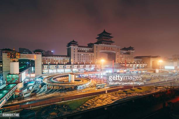 High angle view of Beijing West Railway Station at Night