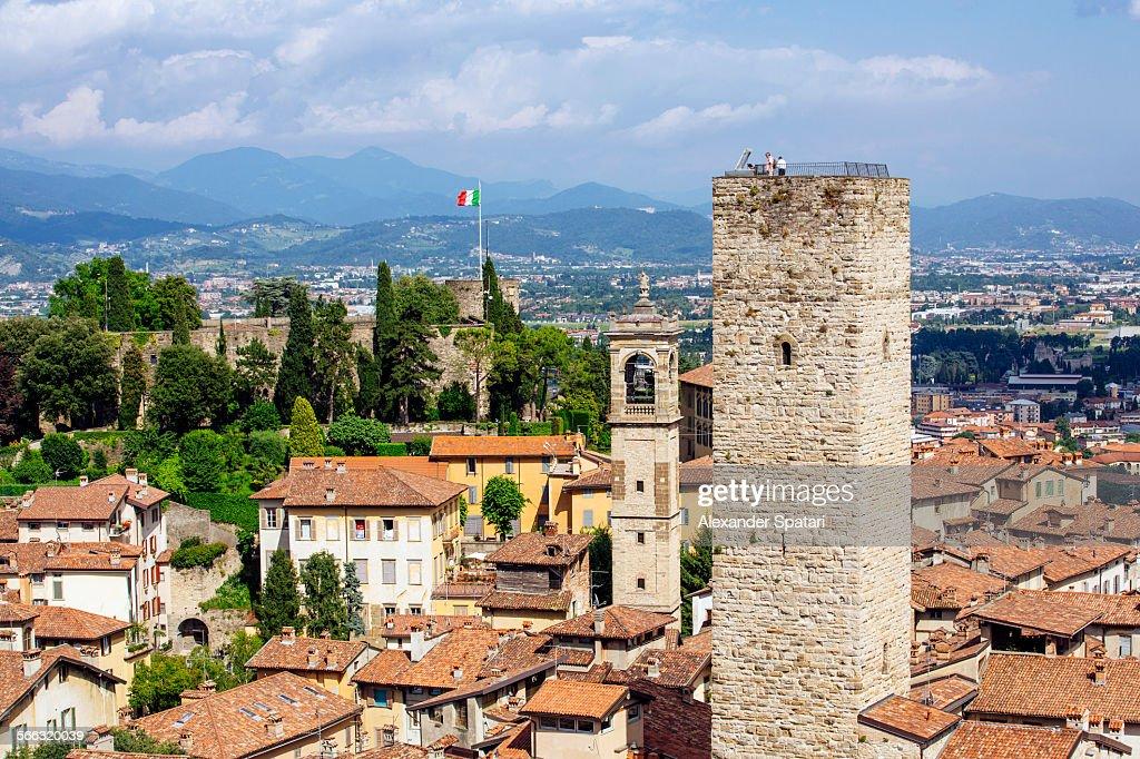 High angle view of Bergamo, Lombardy, Italy
