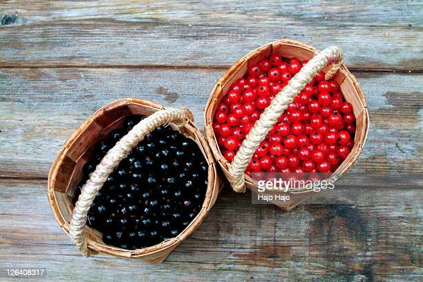 High angle view of berries in baskets