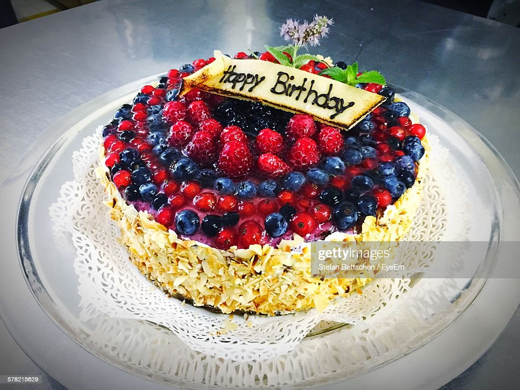 Fresh Fruit Birthday Cake Stock Photos and Pictures Getty Images