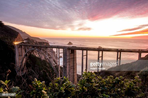 High angle view of Bixby Bridge and sunset sky, Big Sur, California, United States
