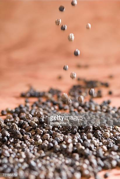 High angle view of Black Peppercorns