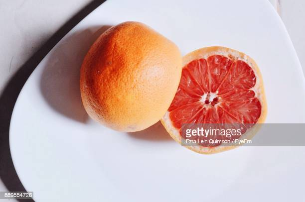 High Angle View Of Blood Orange On Plate