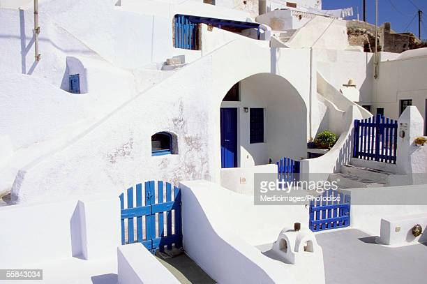High angle view of blue gates and doors of a house, Santorini, Greece