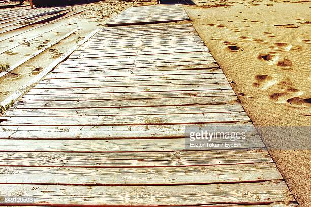 High Angle View Of Boardwalk At Beach