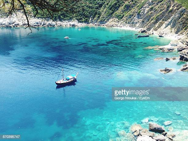 High Angle View Of Boat In Bay At Skopelos Island