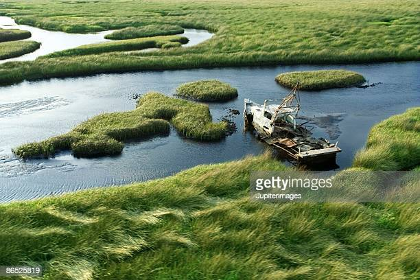 High angle view of boat in Florida Everglades
