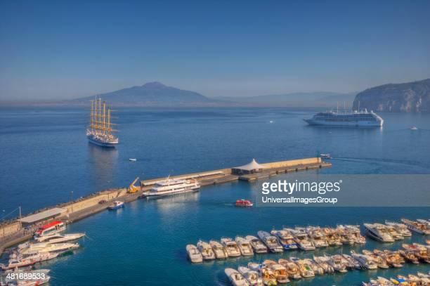 High angle view of boats at a marina Sorrento Campania Italy